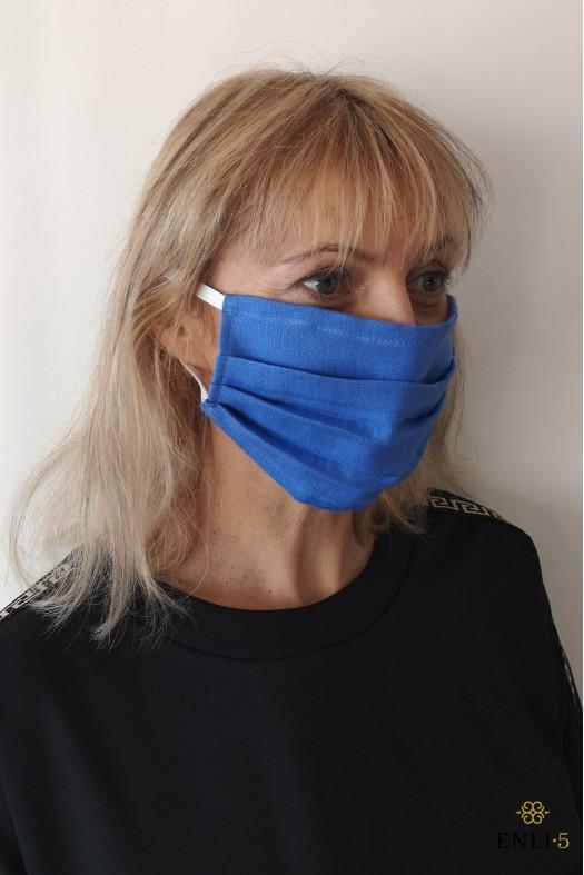 Linine mėlyna dviguba apsaugine kaukė (be kišenės)