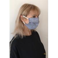 Linine džinso sp. dviguba apsaugine kaukė (be kišenės)