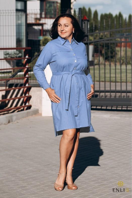 Džinso spalvos lininė marškinių tipo suknelė