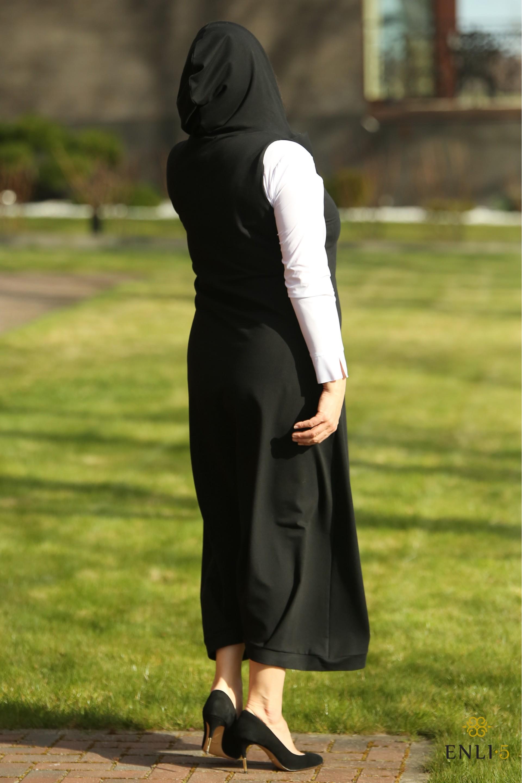 Ilga juoda suknelė su kišenėmis   Sarafanas HELEN