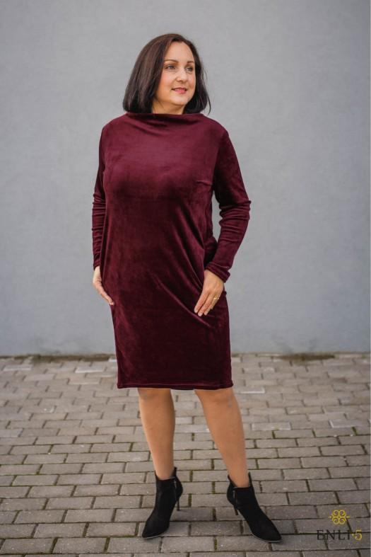 Burgundiško vyno spalvos klasikinė ypatingo veliūro suknelė