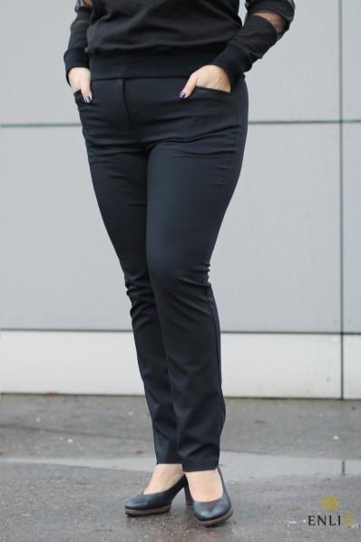 Juodos spalvos kelnės DEKO | oda dekoruotos kišenės