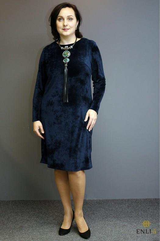 Tamsiai mėlynos spalvos maža veliūrinė suknelė