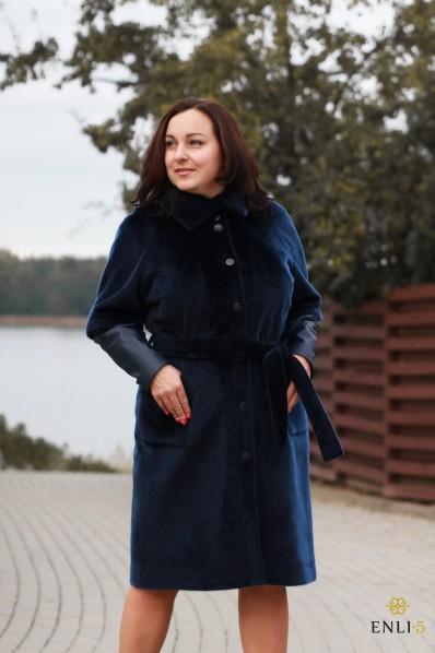 Mėlynas kailinis paltas su odinėm rankovėm