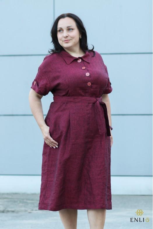 Bordo spalvos lininė suknelė GODA