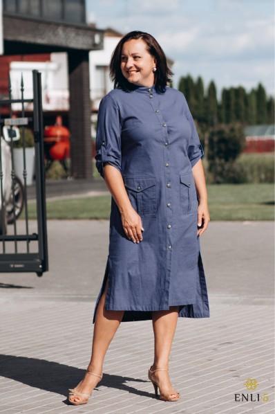 Mėlyna lininė/medvilninė suknelė SAFARIS