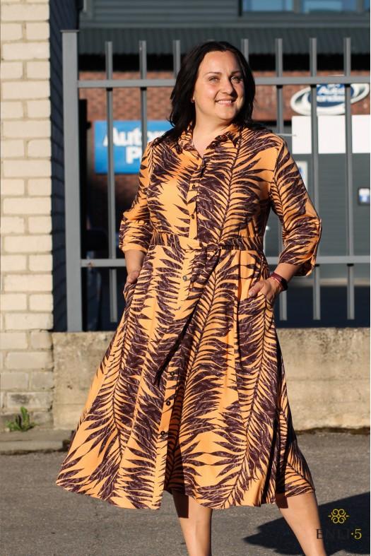 Prigesinta oranžinė suknelė SHERLE | ilga suknelė