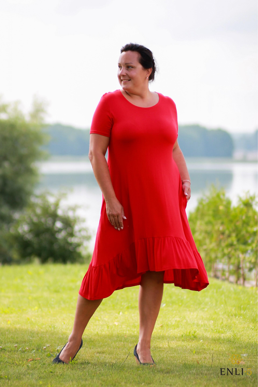 Raudona vasariška suknelė trumpomis rankovėmis TAJA