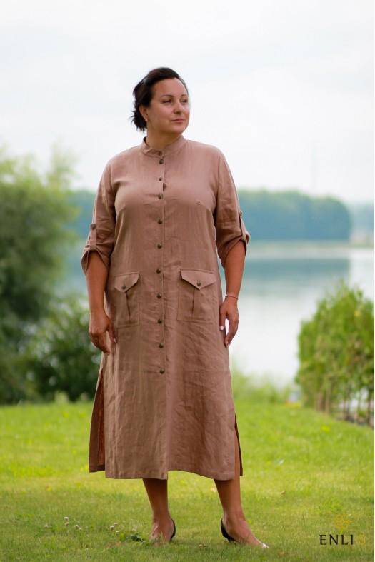 Ilga ruda lininė suknelė SAFARIS