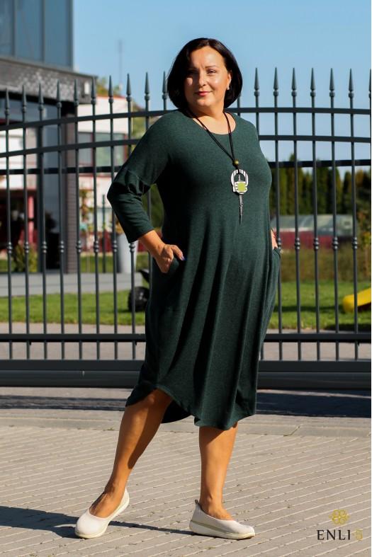 Žalios spalvos laisvo stiliaus suknelė RUDUO