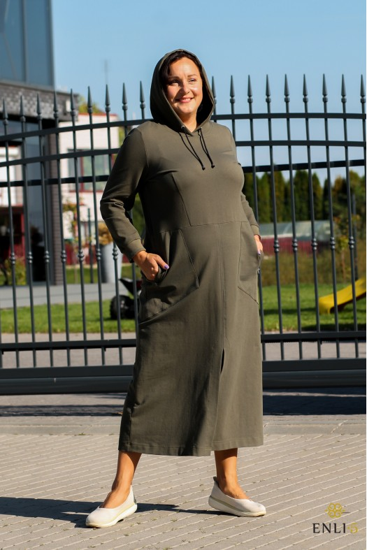 Ilga chaki spalvos  suknelė su kapišonu SONATA