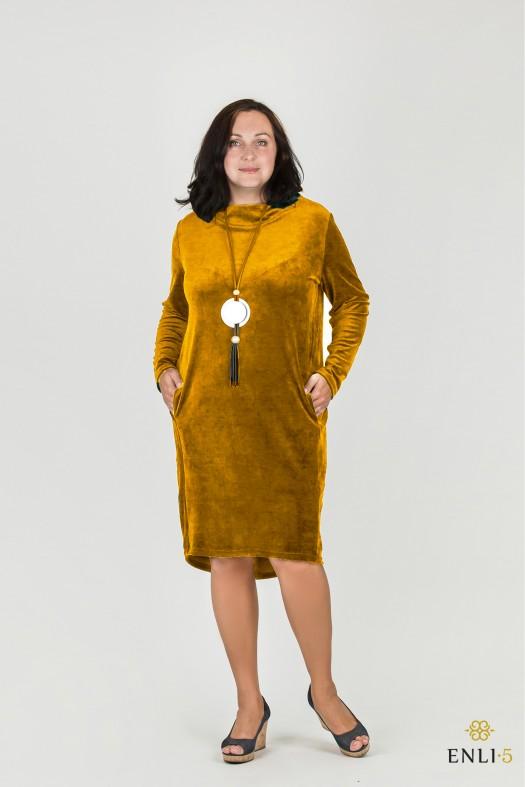 Garstyčių spalvos klasikinė ypatingo veliūro suknelė