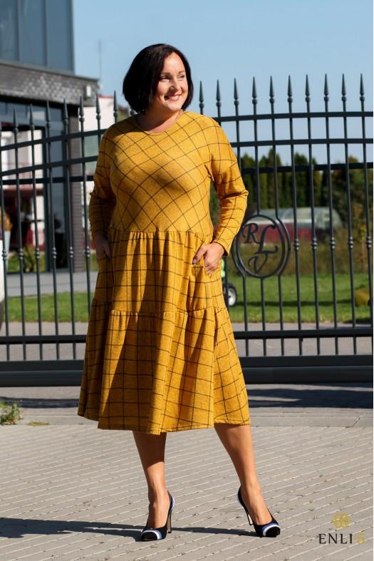Geltona languota suknelė BRIGITA