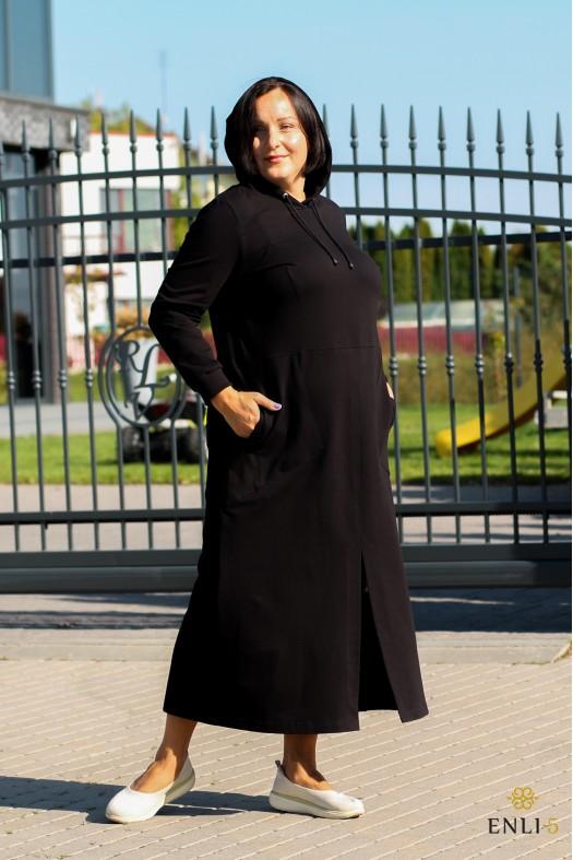 Ilga juoda suknelė su kapišonu SONATA