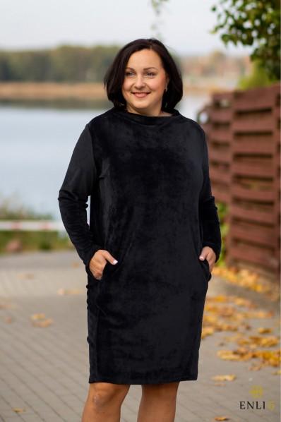 Juodos spalvos klasikinė ypatingo veliūro suknelė