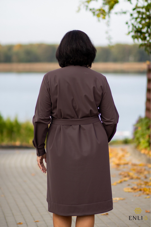 Kapučino spalvos, imitacinės odos suknelė DORINA
