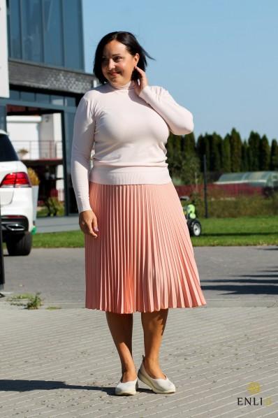 Persikinės spalvos gofruotas sijonas