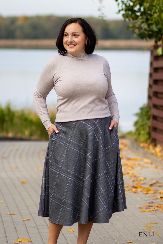Pilkas kliošinis sijonas MADAM