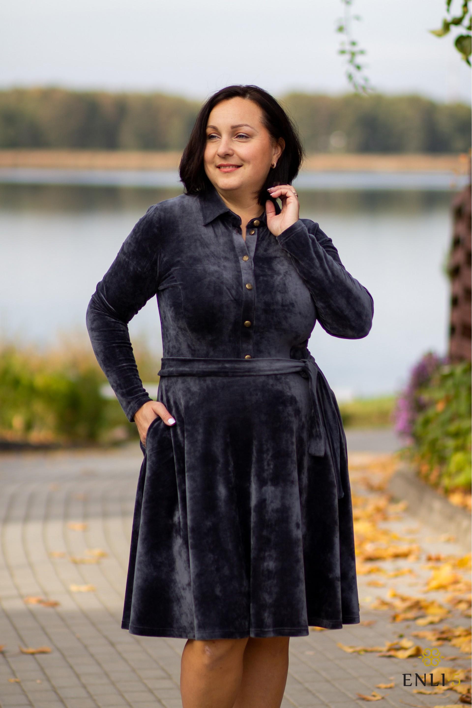 Pilka, ypatingo veliūro kliošinė suknelė VILTĖ