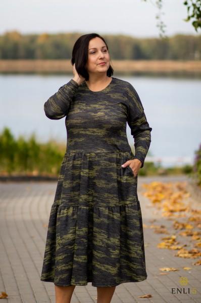 Žaliai marga suknelė BRIGITA