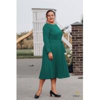 Smaragdinė veliūrinė suknelė LORDI | Gofruotu sijonu