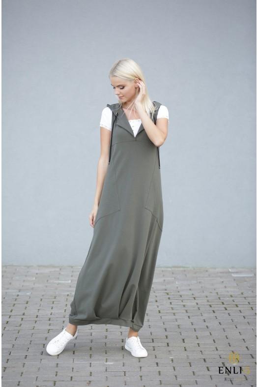 Ilga chaki spalvos suknelė   Sarafanas HELEN