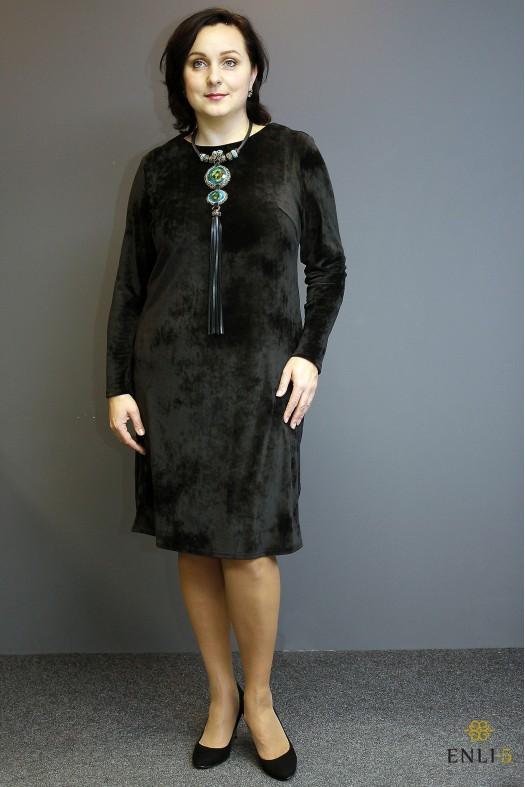 Juodos spalvos maža veliūrinė suknelė