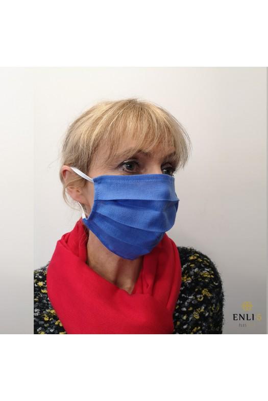 Lininė mėlyna vienguba apsaugine kaukė (be kišenės)