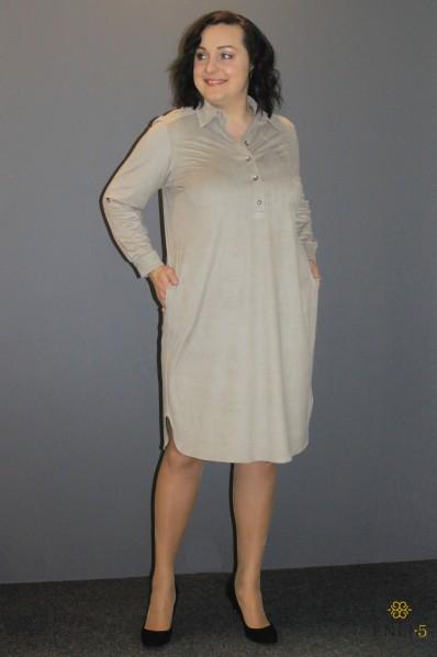 Dramblio kaulo spalvos zomšiniai suknelė/marškinukai