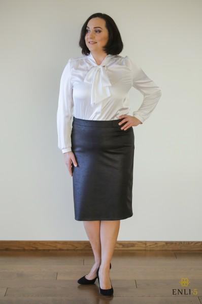 Imitacinės odos juodas sijonas