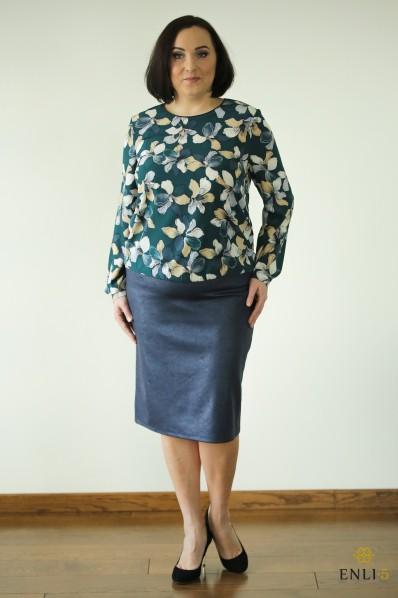 Imitacinės odos mėlynas sijonas