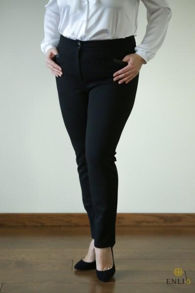 Juodos spalvos storo trikotažo kelnės
