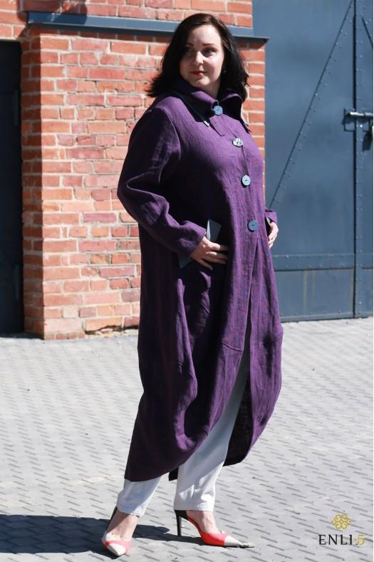 Baklažano spalvos lininis paltas