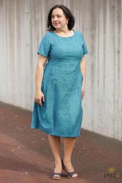 """Turkio spalvos lininė suknelė """"Džordža"""""""