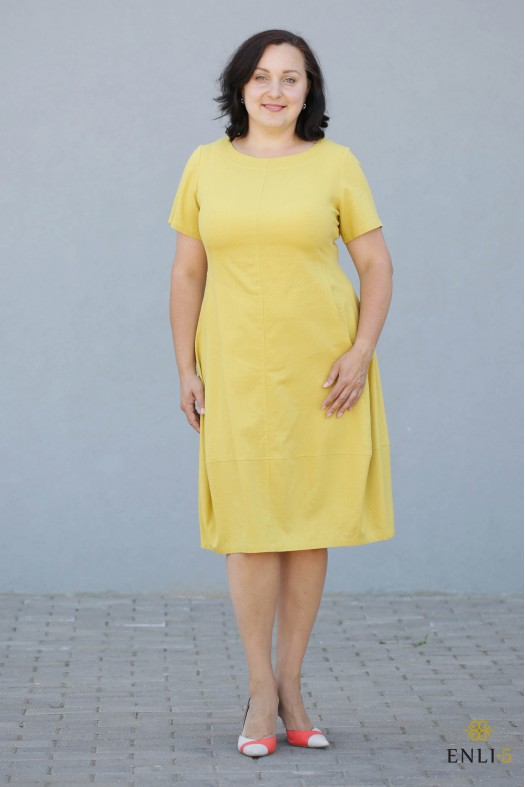 """Geltonos spalvos lininė suknelė """"Džordža"""""""