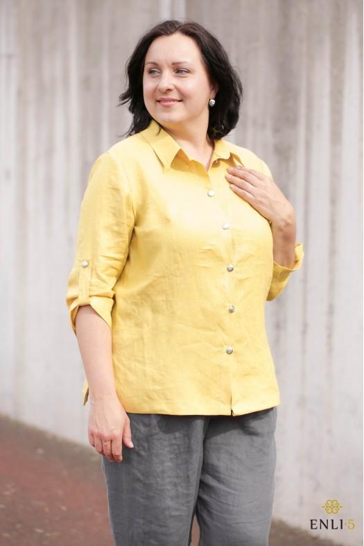 """Geltonos spalvos lininiai marškiniai """"PARIS"""""""