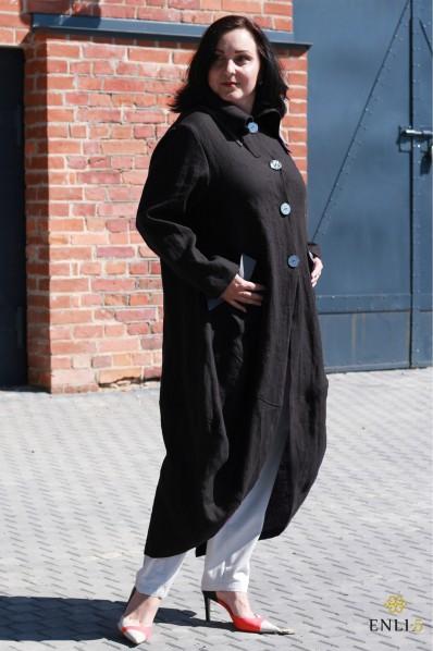 Juodos spalvos lininis paltas