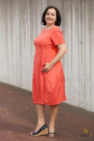 """Oranžinės spalvos lininė suknelė """"Džordža"""""""