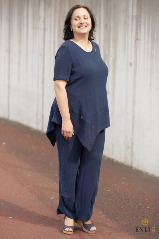 Mėlynas krepinio lino kostiumėlis