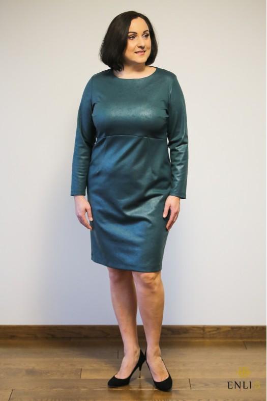 """Smaragdinė odos imitacijos suknelė """"ELLY"""""""