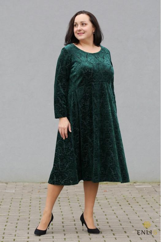 """Smaragdinės spalvos aksominė suknelė """"Trapecija"""""""
