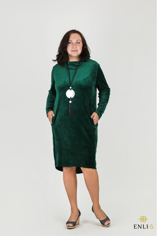 Smaragdinės spalvos klasikinė ypatingo veliūro suknelė