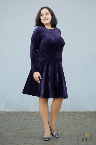 """Tamsiai mėlyna veliūrinė suknelė """"Diplomatė"""""""