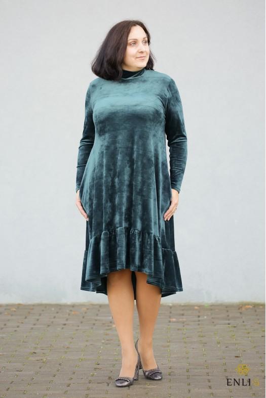 """Žalios spalvos ypatingo veliūro suknelė """"Dalida"""""""